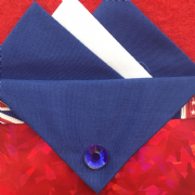 Dark Blue and White Hankie With Dark Blue Flap and Pin